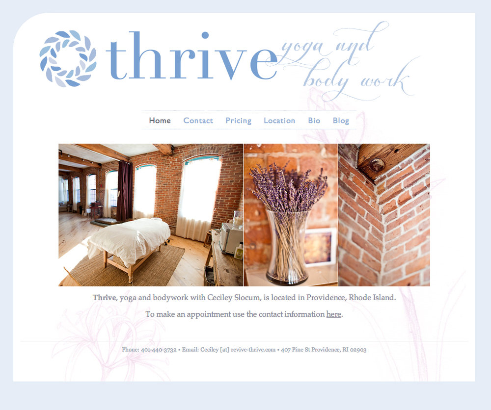 Website and branding for Thrive. We used hand drawn illustrations of flowers in the background of the pages.