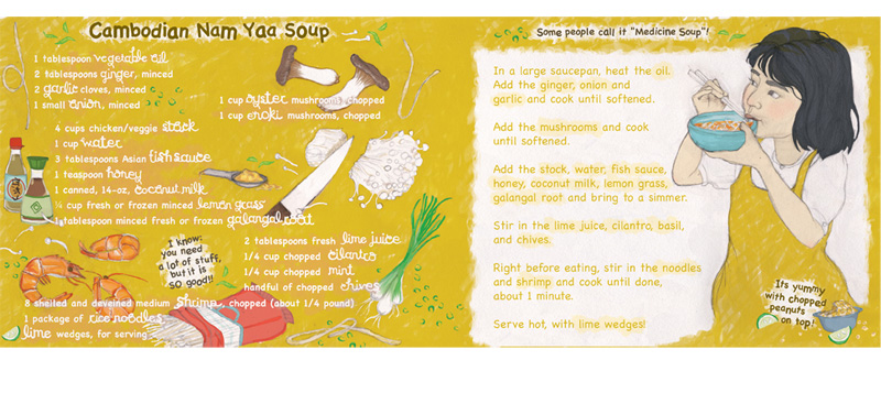 cambodian chicken noodle soup recipe illustration