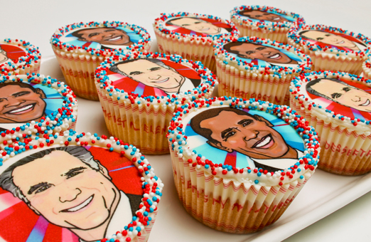 Romney Obama Cookies Cupcake portraits