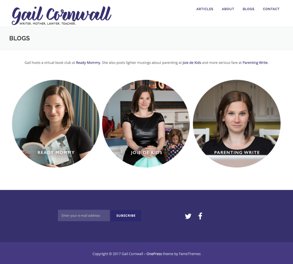Wordpress redesign for writer/columnist/blogger Gail Cornwall. I created the custom logo as well.