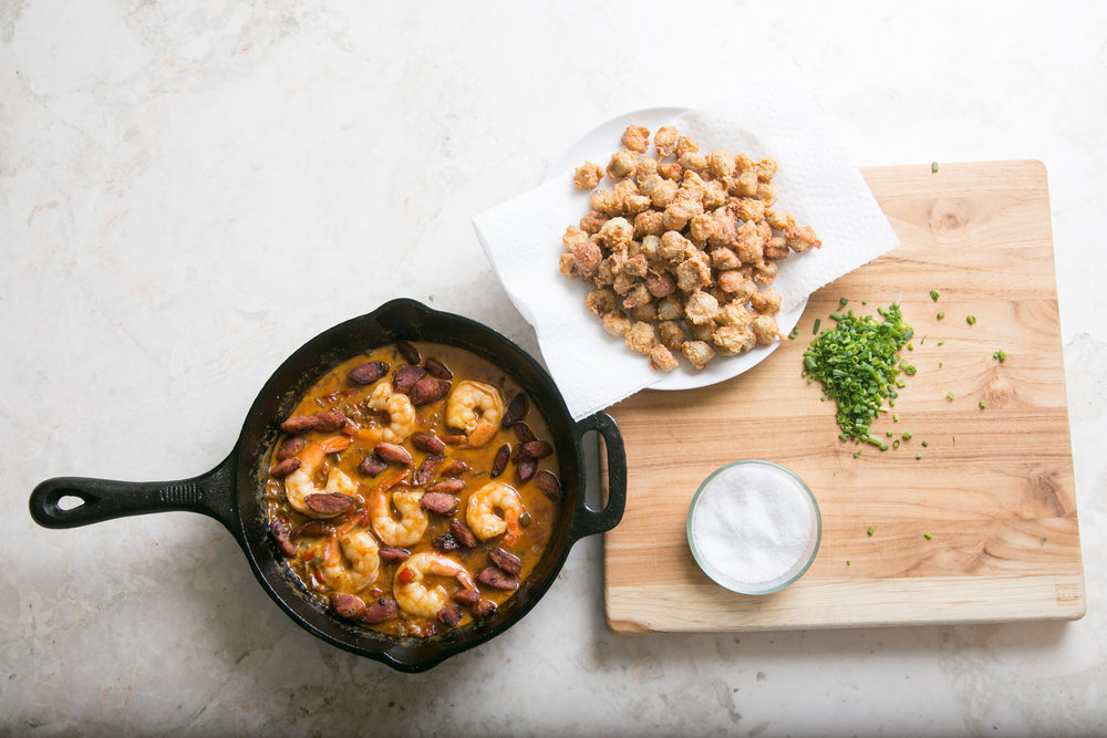 Shrimp and andouille in a lightly smoky sauce earned chef Tanorria Askew high praises from judges on Master Chef. Photo courtesy of Tanorria Askew.