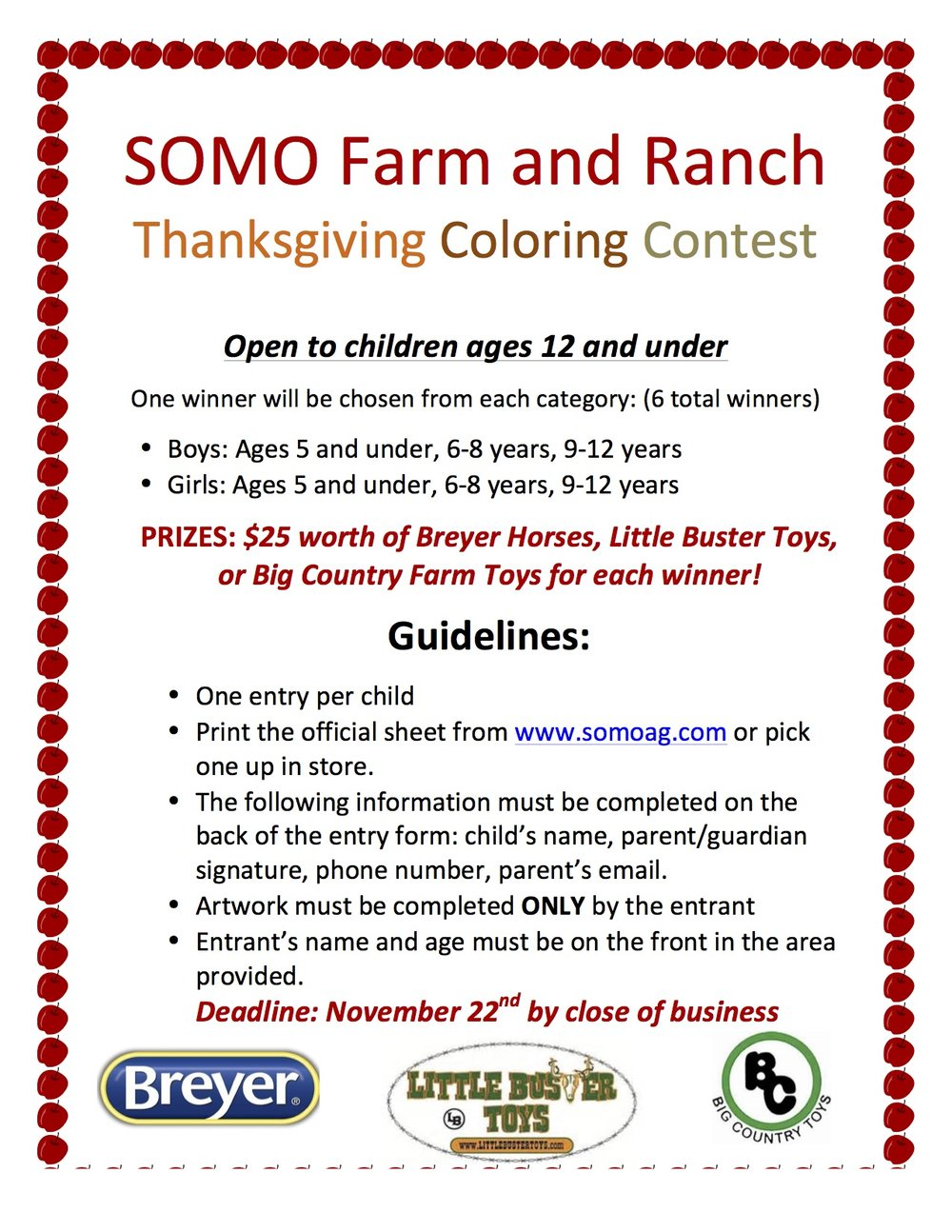 SoMo Farm and Ranch Thanksgiving Coloring Contest