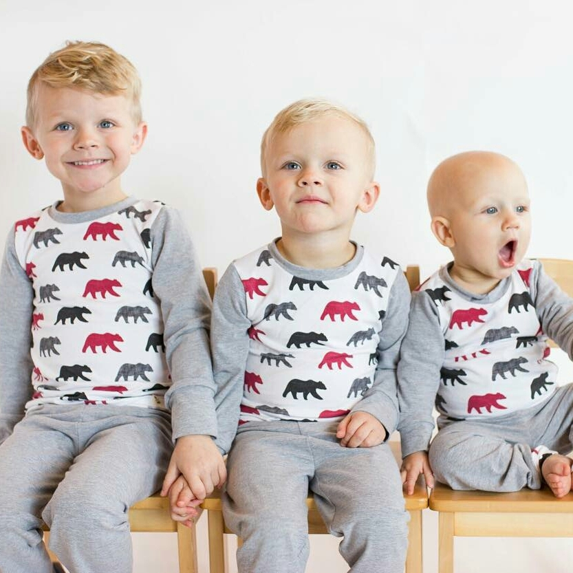 Bear pajamas handmade by BearAndRoo using the happy camper bear design. Adorable boys belong to judeandhudson.