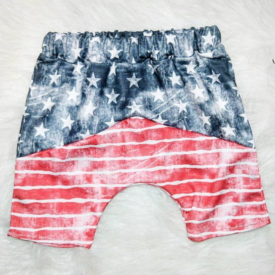 Harem shorts handmade by Bub.and.tribe using the stars and stripes designs.