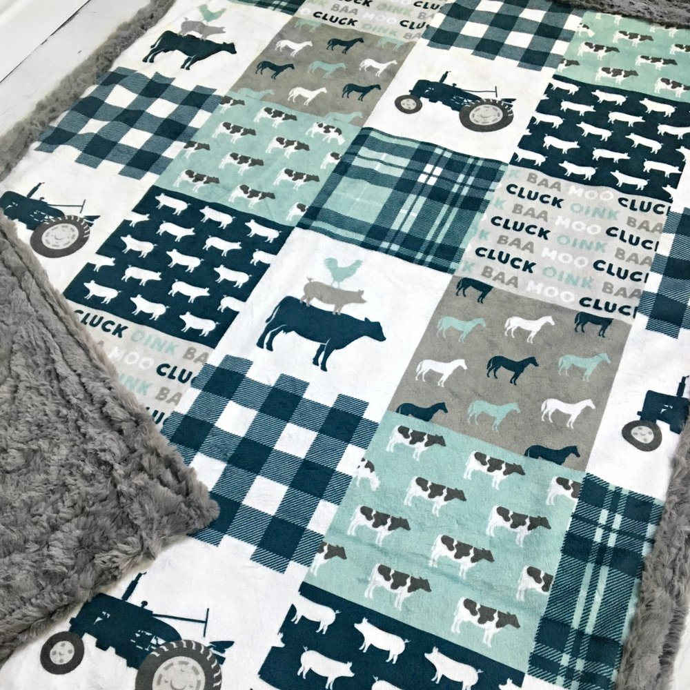 Luxe double minky blanket handmade by  TheDesignerMinkyCo. using the  Farmlife  design.