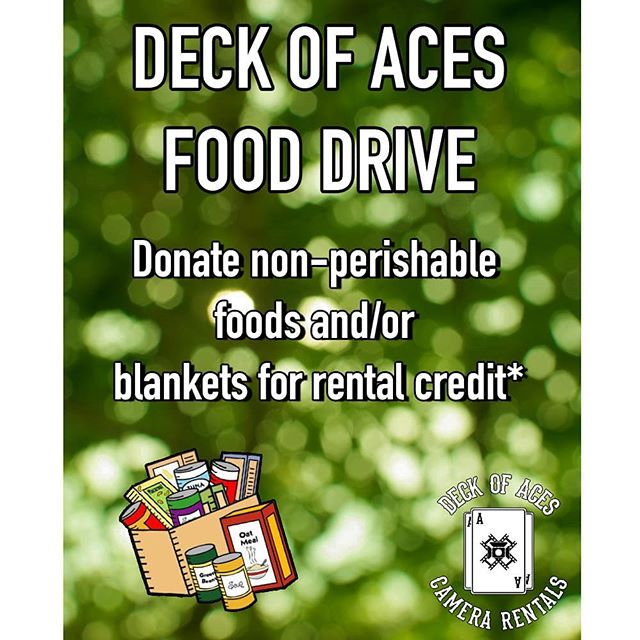 *Rental credit applied to your next rental is $10 per item of non-perishable food and $30 per blanket donated to Deck of Aces Camera Rentals.  Email rentals@deckofaces.com with any questions  #cameradept #rentalhouse #donation #fooddrive #charity #arri #alexa #canon #fd #amira #alexamini #arrialexa #alexalf #vintageglass #producers #panavision #local600 #soc #directors #digitalcinema #filmmaking #film #filmindustry #setlife #dop #givingback