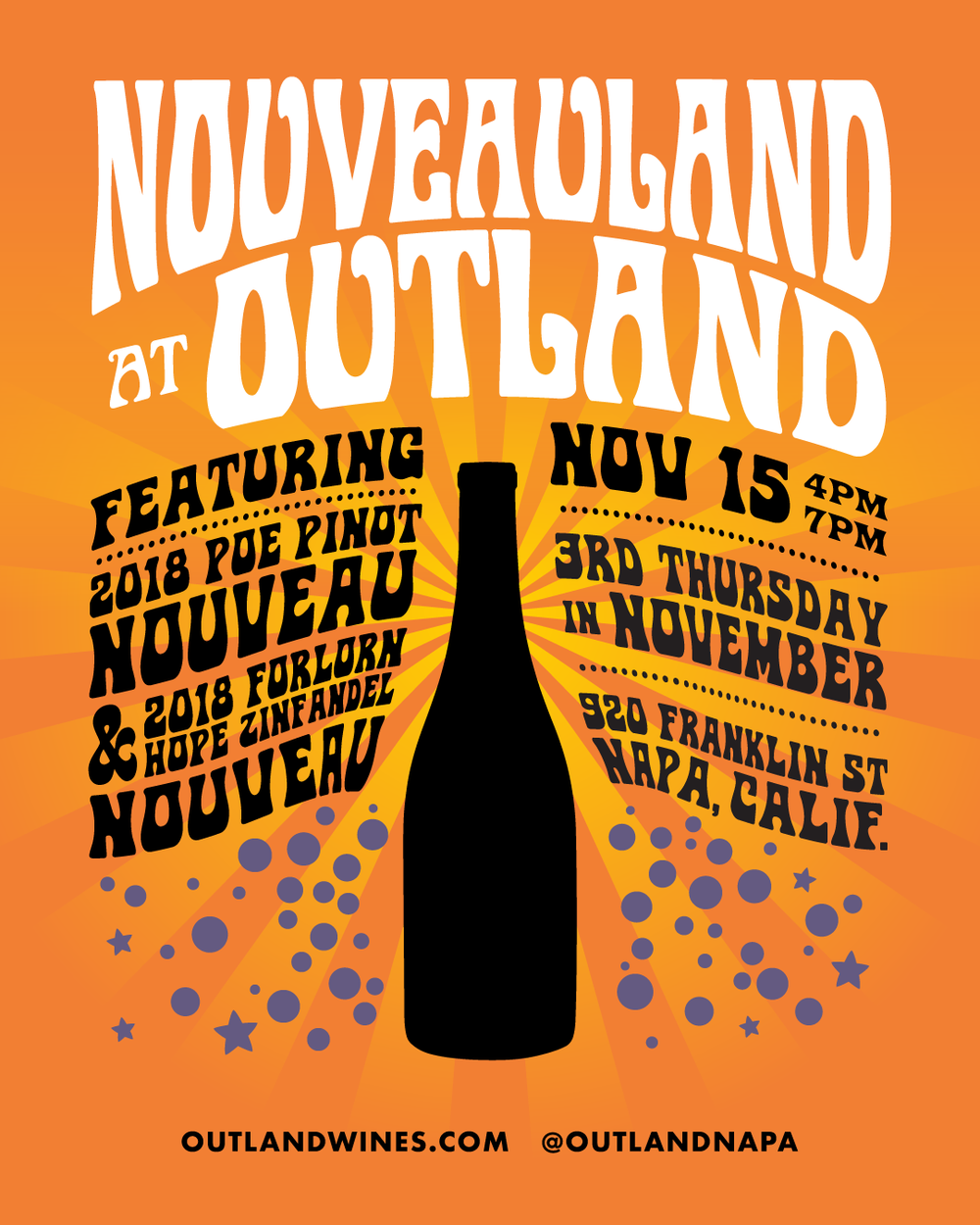 Join us for  NOUVEAULAND at OUTLAND  on Thursday, November 15th from 4-7pm to celebrate the release of the 2018 POE Pinot Nouveau and the inaugural vintage of the 2018 Forlorn Hope 'Zinny Man' Zinfandel Nouveau. We'll be pouring both wines by the glass, and both bottlings will be available to purchase.