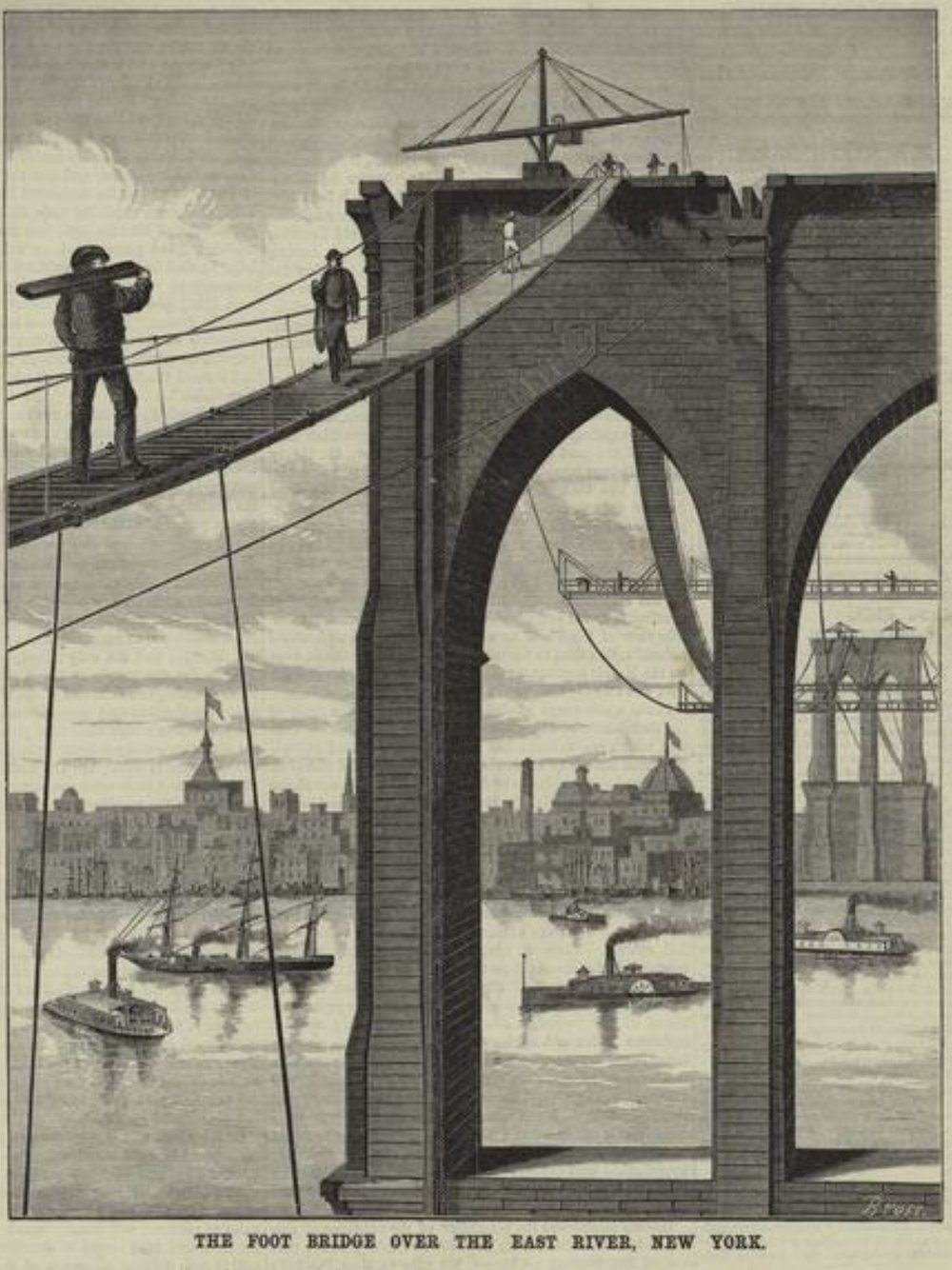 The first foot bridge over the East River on the Brooklyn Bridge.