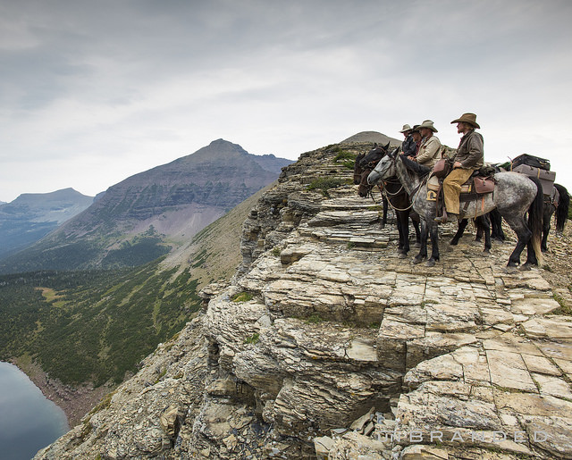 Ben Masters (on the gray horse) riding the trail for the film, book and multi-content feature Unbranded.