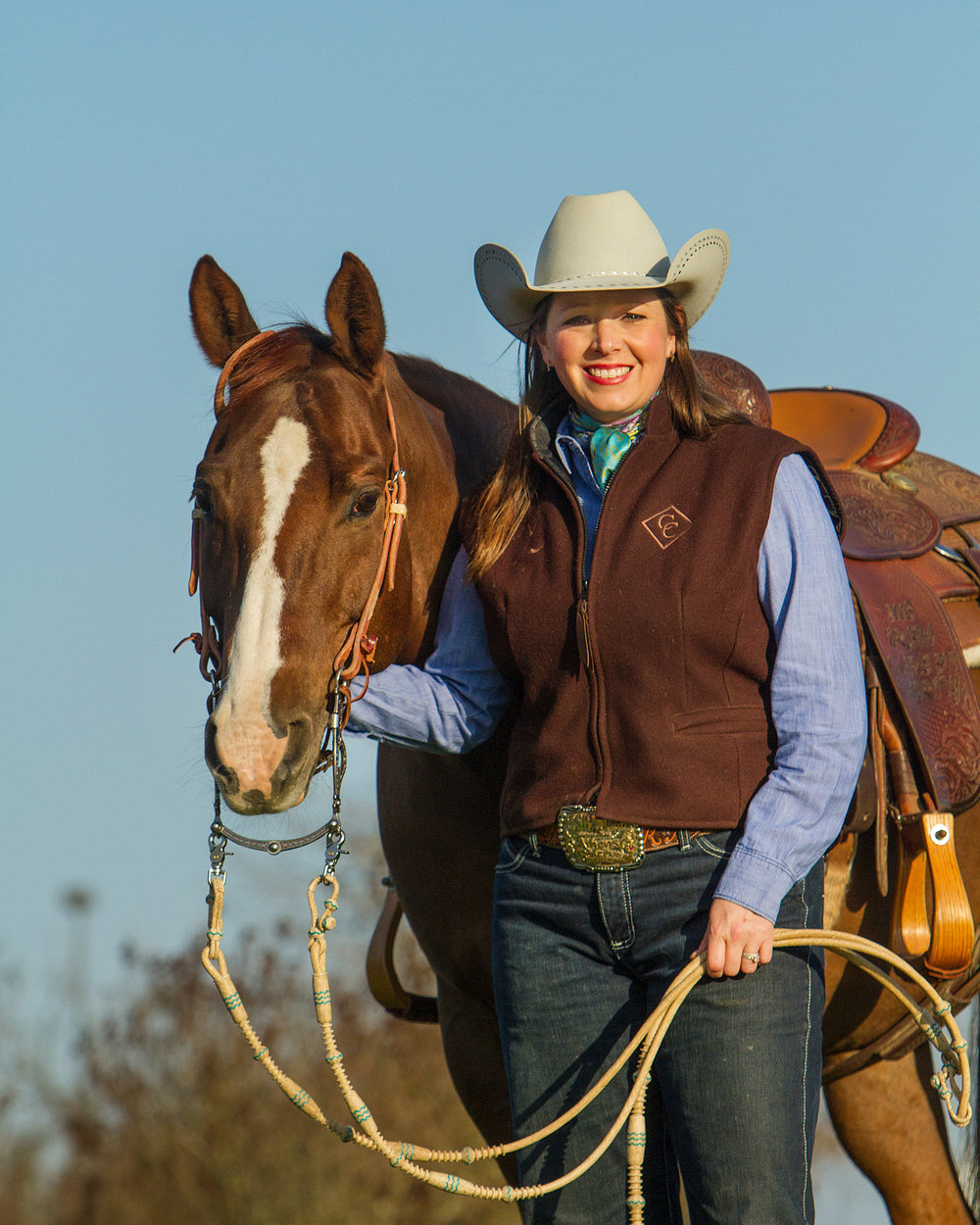 Kate and her cow horse, Burn One Turn One. Photo by Ross Hecox.