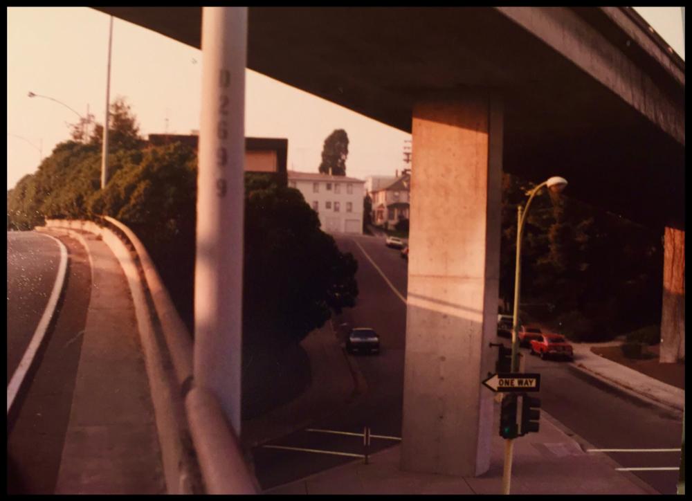 580 freeway at Harrison Street looking Northwest around 1983 prior to Giraphics murals.