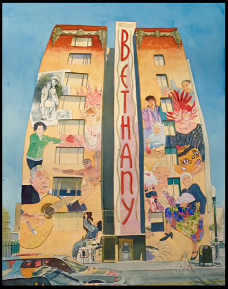 Watercolor maquette of the Bethany mural