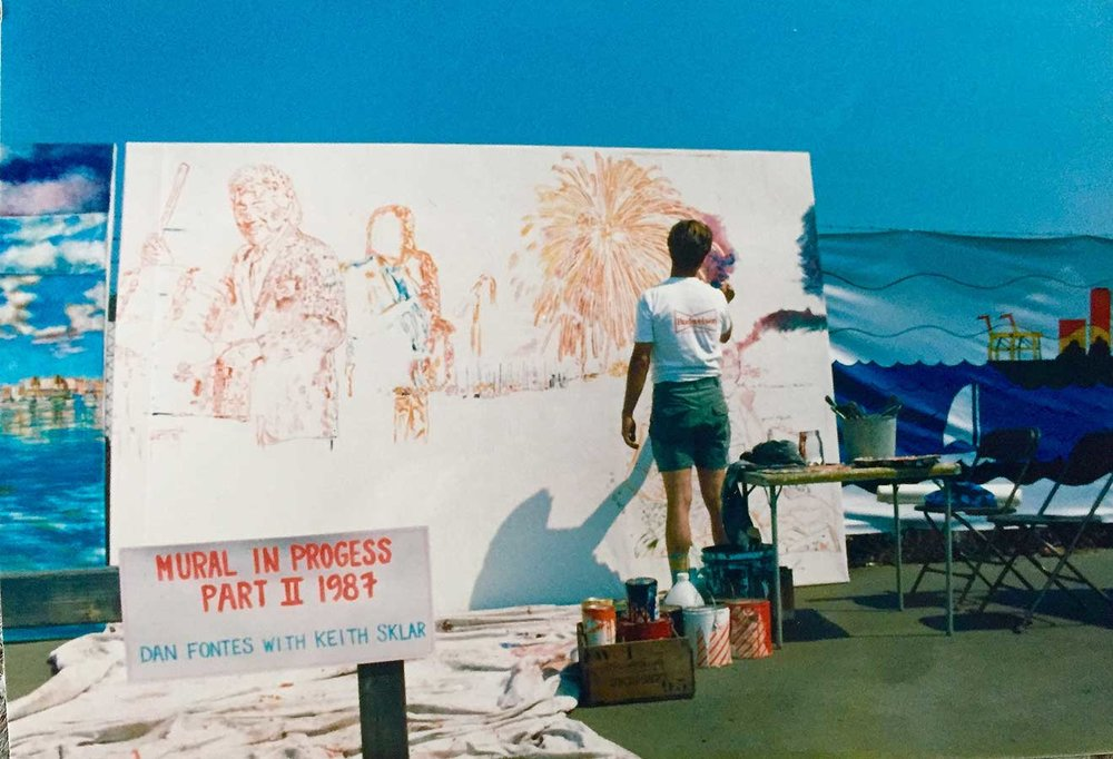 Panel two being painted live at Estuary Park