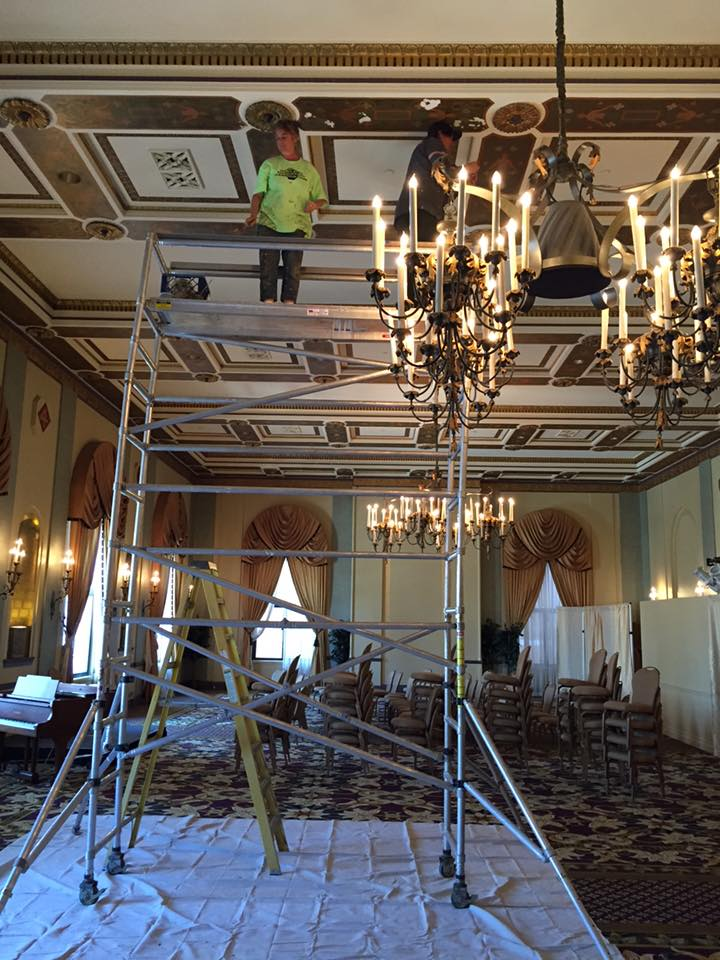 Marine's Memorial Hotel 6th Floor ballroom ceiling restoration 2016