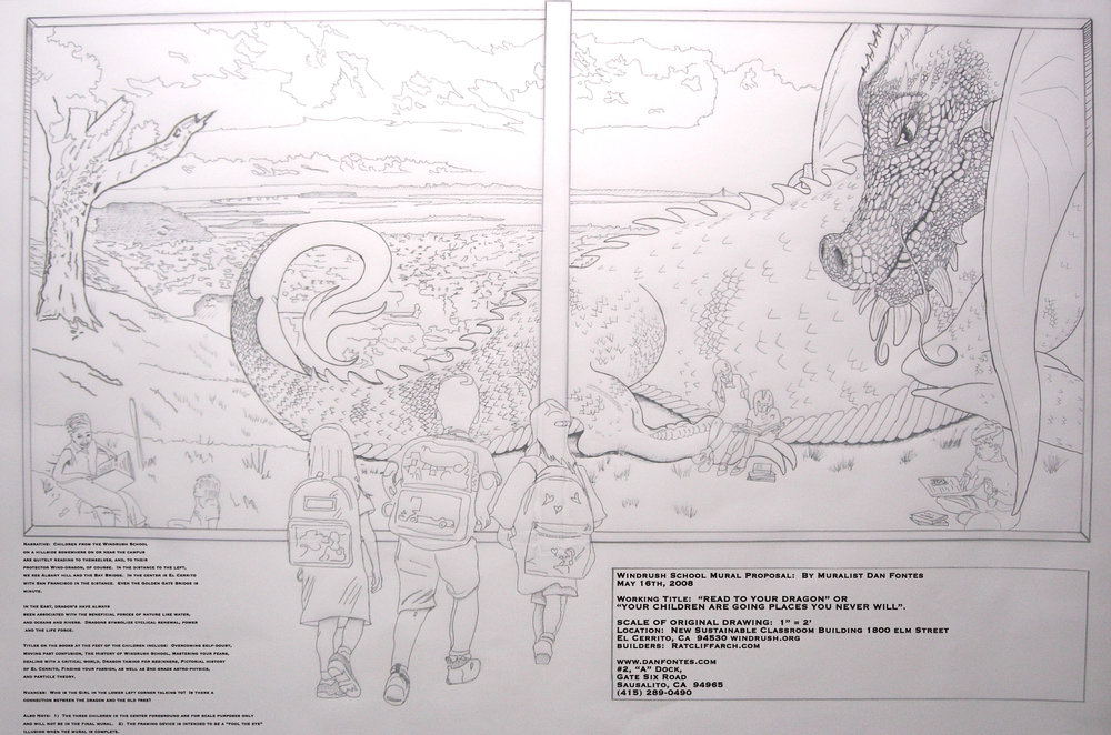 "Title: Proposal for Windrush School Mural 5-2008    Media: Pencil on Vellum    Dimensions: 24' x 36""    Collection of:  The Artist"