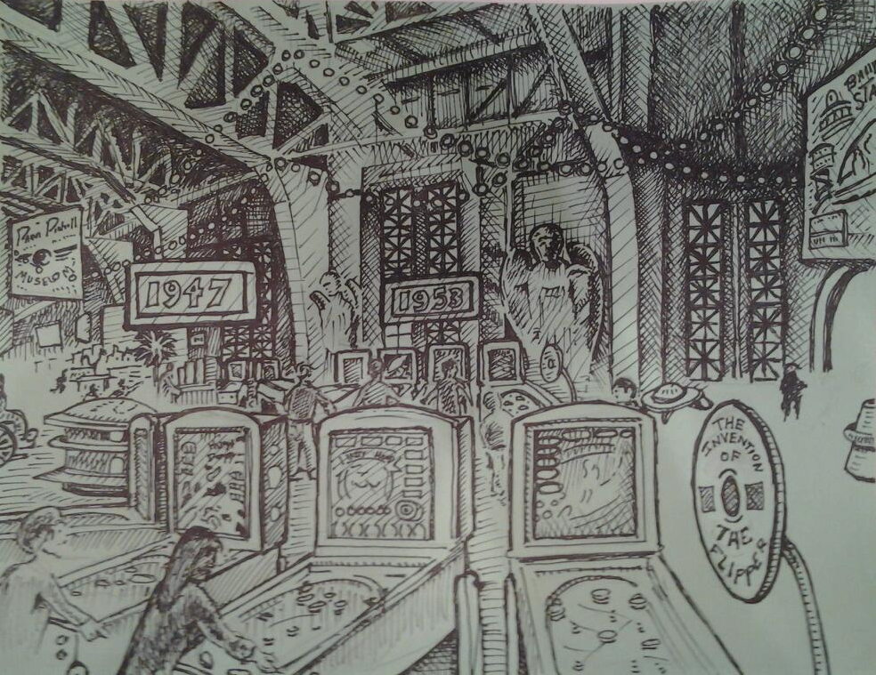 "Title: PPM at POFA 4b/5  11/12    Media: Pen and Ink    Dimensions: 8"" x 11""    Collection of: Michael Schiess, Pacific Pinball Museum, Alameda"