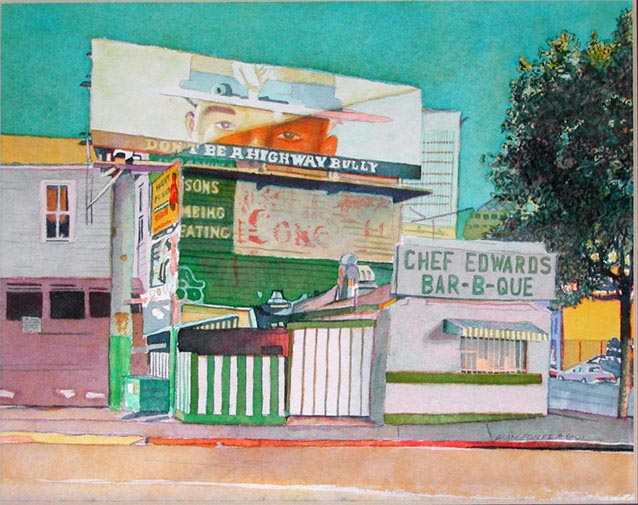 """Title: Chef Edwards BBQ-San Pablo and 20th Streets, Oakland 6-2001    Media: Watercolor    Dimensions: 8"""" x 11""""    Sold"""