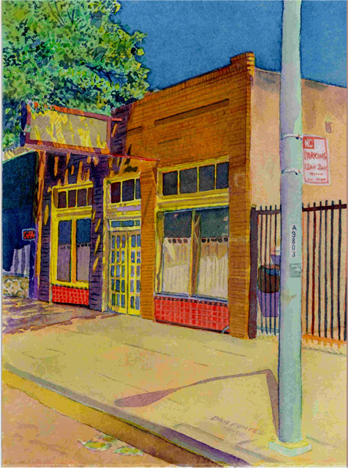"Title: Former Laundrymat, San Pablo near Alcatraz, Oakland    Media: Watercolors    Dimensions: 8"" x 11""    Collection of: Joseph Lent"