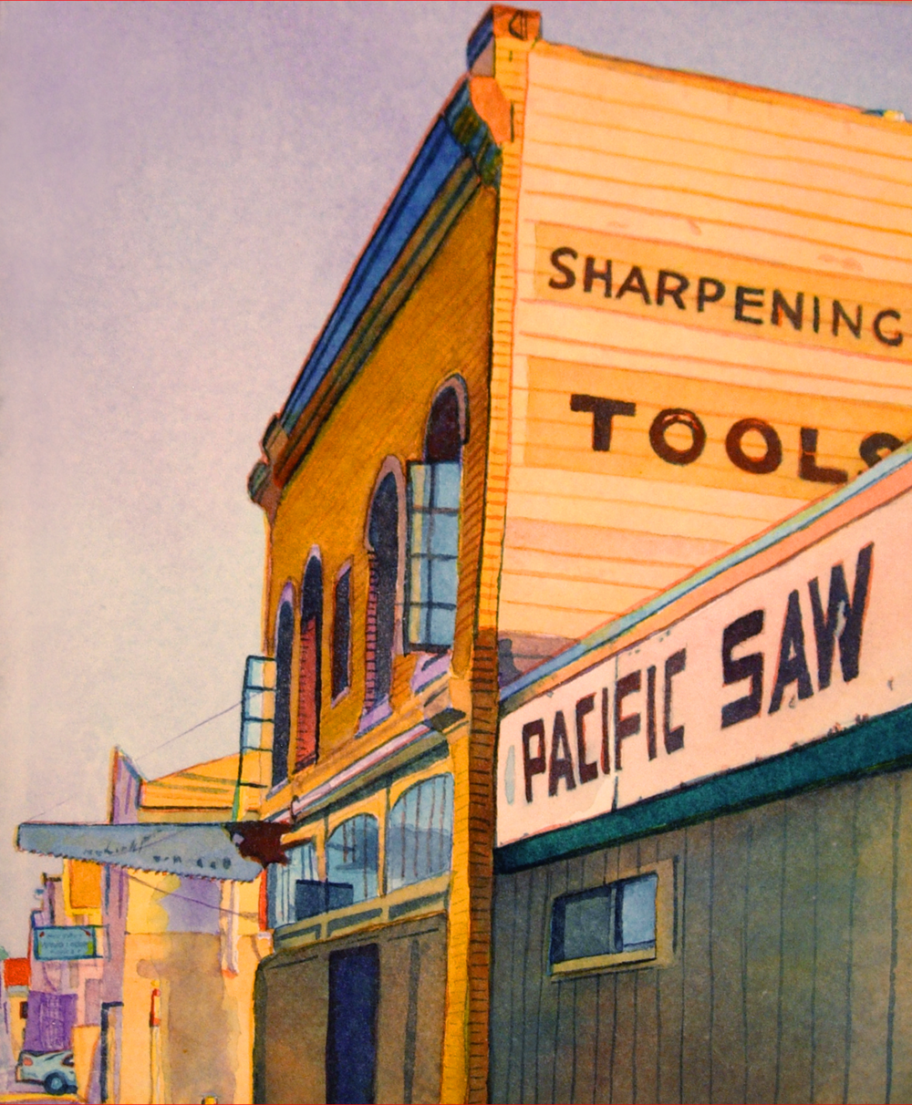 """Title: Pacific Saw Works, Oakland    Media: Watercolors    Dimensions: 8"""" x 11""""    Sold"""