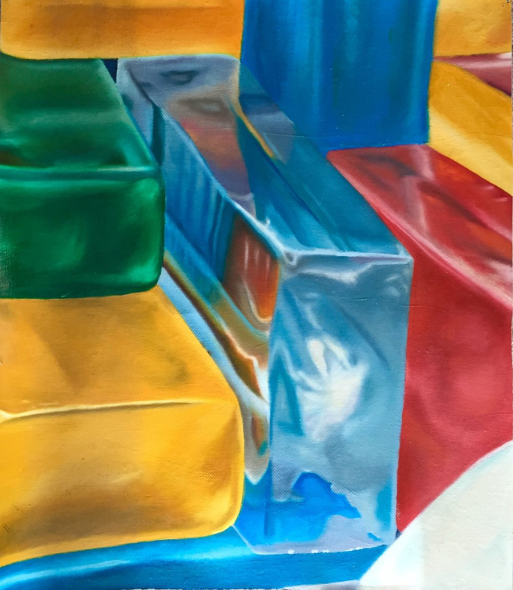 "Title:  ISC Giant Ice Cubes-1982   Media:  Oils on Canvas   Dimensions:  40"" x 30""   Collection of:  The Artist"