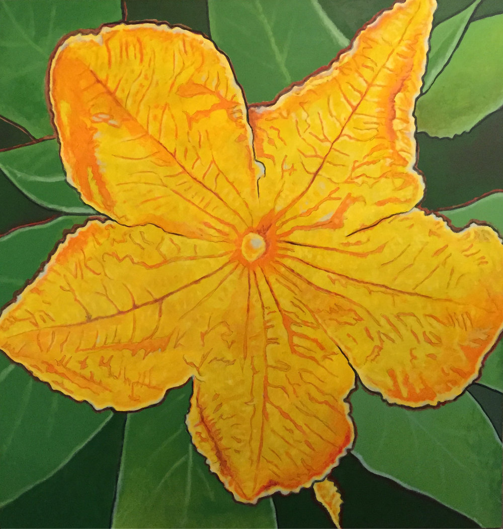 "Title:  Pumpkin Flower-2013   Media:  Acrylics on MDO board   Dimensions:  48"" x 48""   Collection of The Artist"