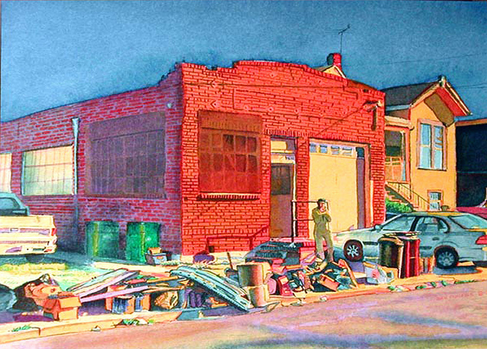 "Title: Art Works Studios aka Warehouse on 60th Street, Oakland 2001    Media: Watercolors    Dimensions:  8"" x 11""    Collection of: The Artist"