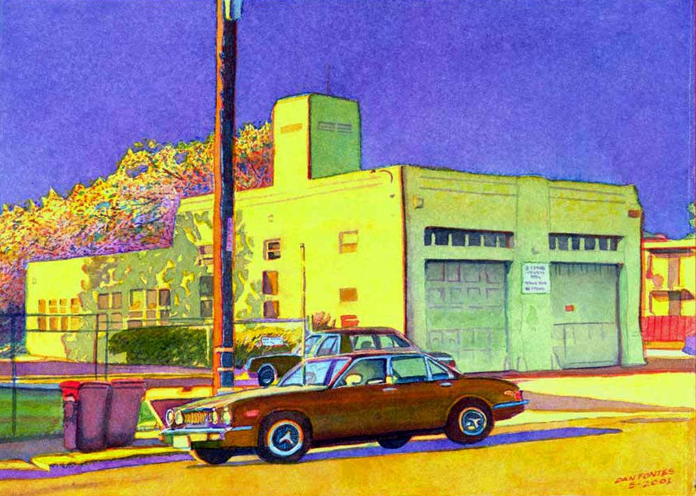 "Title: Firestation on 60th Street, Oakland 2001    Media: Watercolors    Dimensions:  8"" x 11""    Collection of: The Artist"