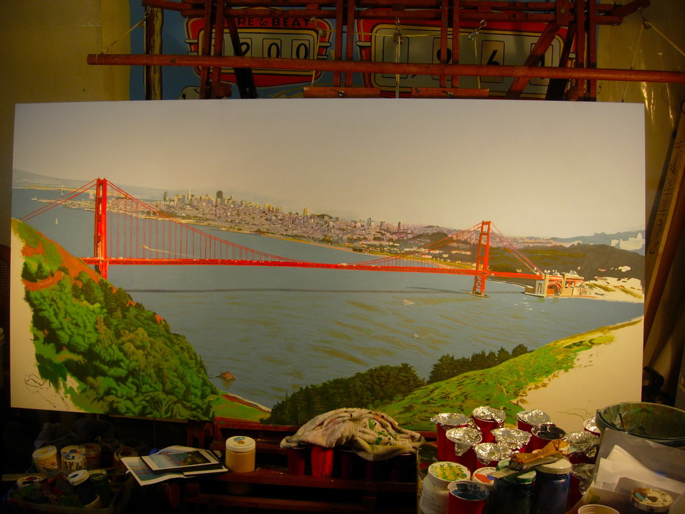 "Title: Golden Gate Bridge landscape 2008 (in progress view)    Media: Acrylics on Canvas    Dimensions:  3"" x 10""    Collection of: Kristina Peterson, El Cerrito"