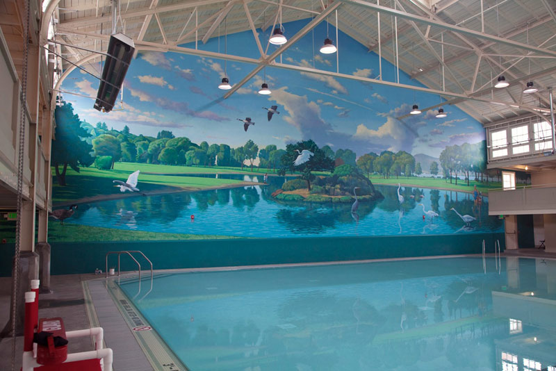 Project: Richmond Plunge-2010    Media: Acrylics    Dimensions: 40' x 120'    Location: Point Richmond Plunge swimming facility    Assistant to: John Wehrle-more at  www.troutinhand.com