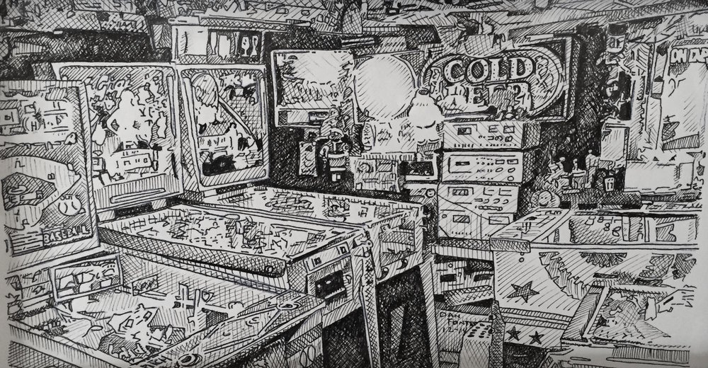 "Title: ""Mac's Basement"" 12-14    Media: Pen and Ink    Dimensions: 8"" x 11""    Collection of: Kristi Holohan, Oakland"