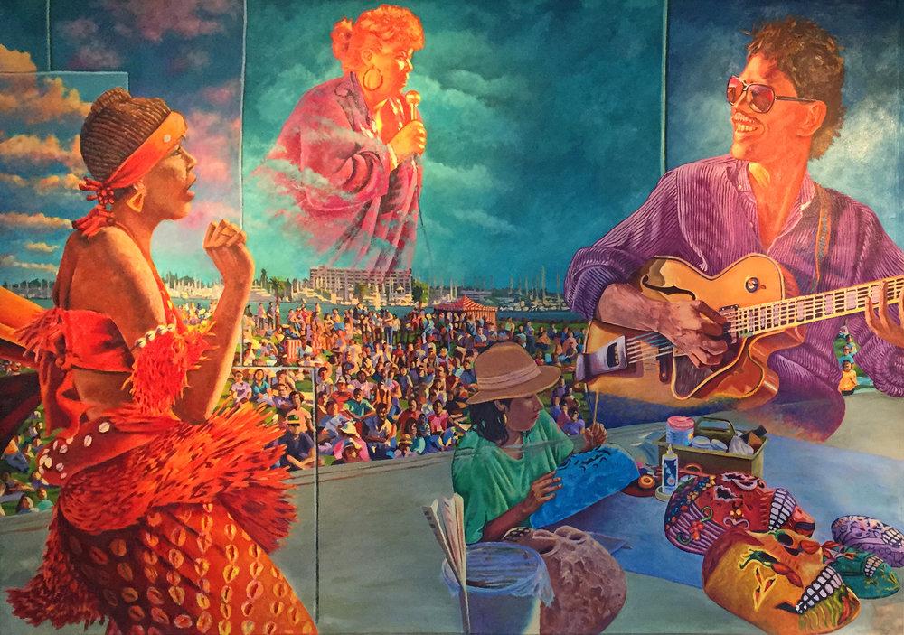 Panel 4 including lead dancer of Fua Dia Congo (L) Etta James (above) Bruce Foreman (R) and Xochitl Guerrero (below)