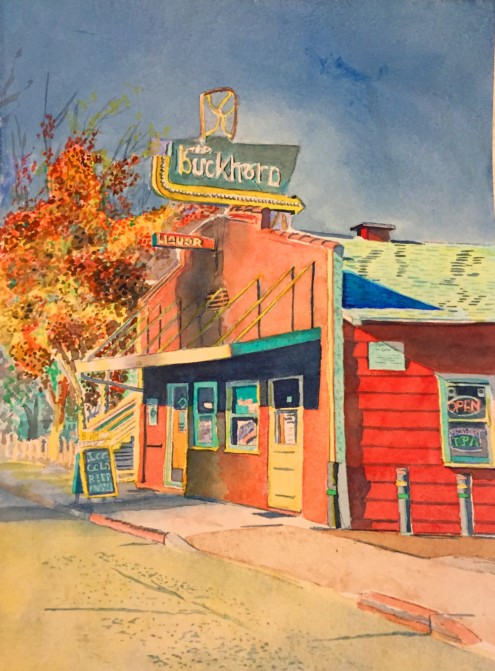 "Title: The Buckhorn, Petaluma 2017    Media: watercolors    Dimensions: 8.5"" x 11""    Collection of the Artist"