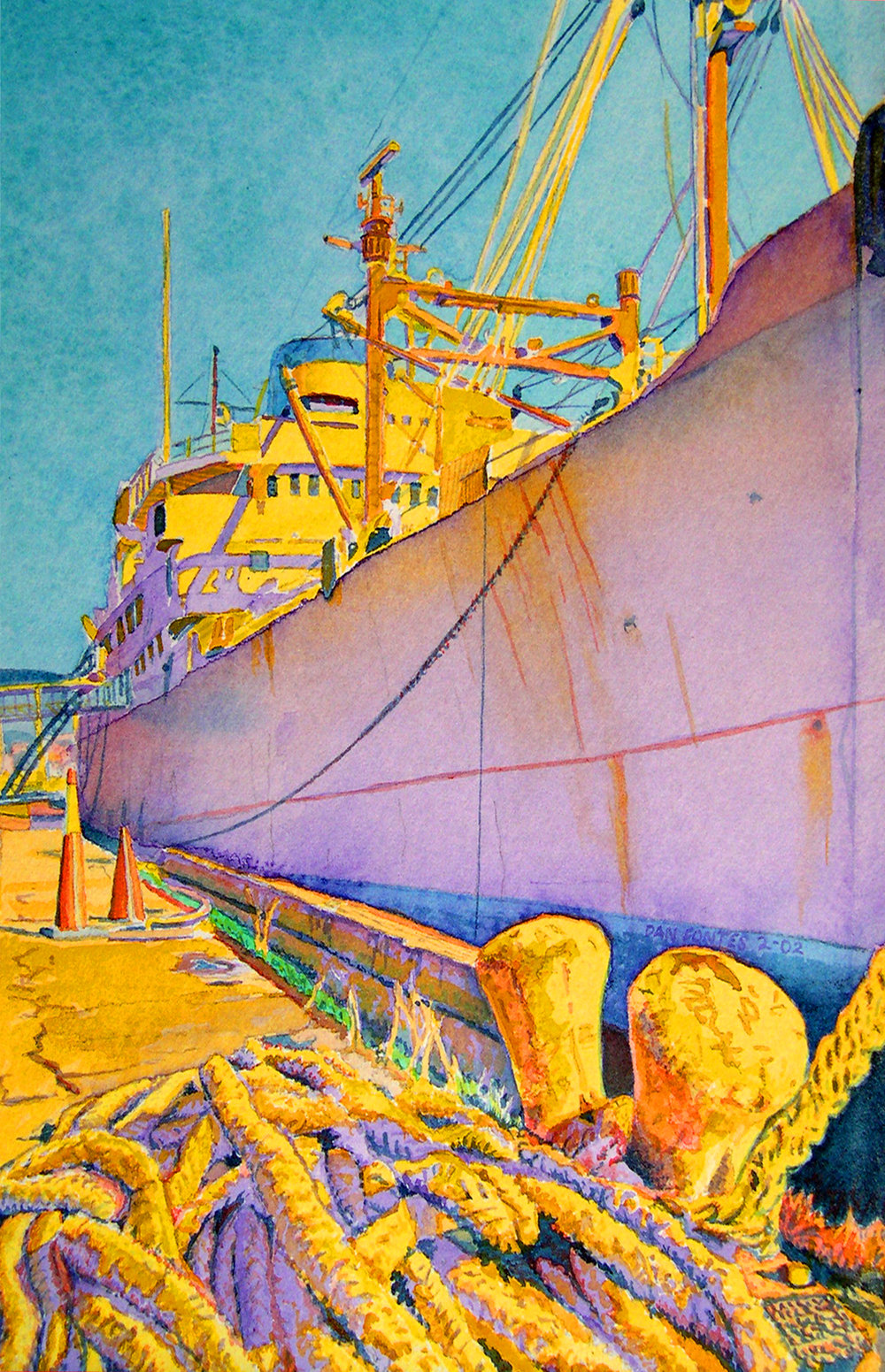"""Title: The Artship, 9th Avenue Terminal, Oakland 2002    Media: Watercolors    Dimensions: 8"""" x 11""""    Collection of: Sheryl Sweepy"""