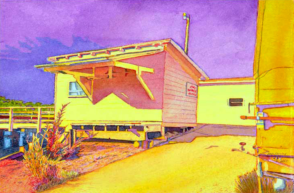 """Title: Union Point, Oakland 2001    Media: Watercolors    Dimensions: 8"""" x 11""""    Collection of: Kym Tuvim"""