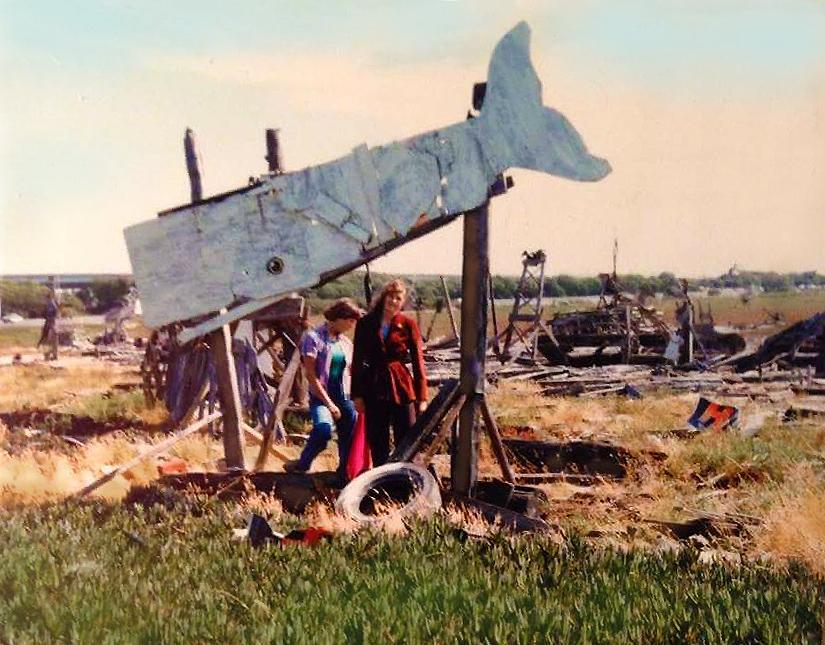 Whale sculpture at the Emeryville Mudflats 1978 with Adrienne and Karen Dzubur.