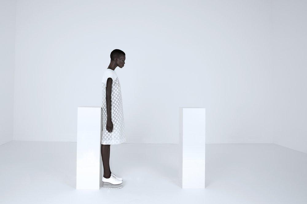 Model: Achok @Scout  Clothes: Camelia Skikos  Shoes: Camelia Skikos