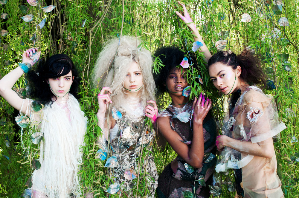 Models from left:  Paulina Marie @booking models  Ellie Sammer @storm  Rudie Mcree @storm  Asha Ray @bookings models  Designer from left:  Emily-Louise Coveney  2 middle dresses:  Valeriia Kostina @kostinacouture  Far right:  Clara pinto @laclarapinto