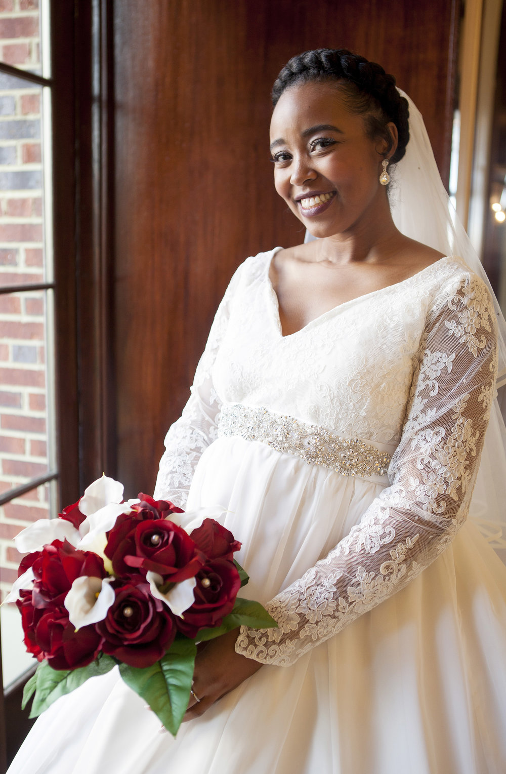 Renaissance Portsmouth-Norfolk waterfront hotel - Beautiful bridal portrait moments before leaving for the historic Hampton University chapel.