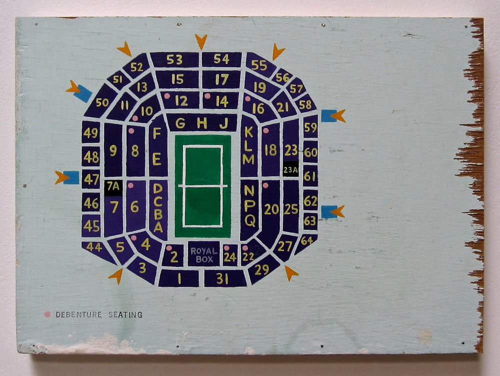 Greg Colson, Wimbledon Centre Court, 2013 Acrylic and ink on painted wood mounted on stretcher bar 9 x 12 inches $2500