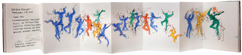 "Jean Edelstein, Barak Ballet, 2015 Ink and watercolor on watercolor paper 4"" Closed and 42"" Open $800"