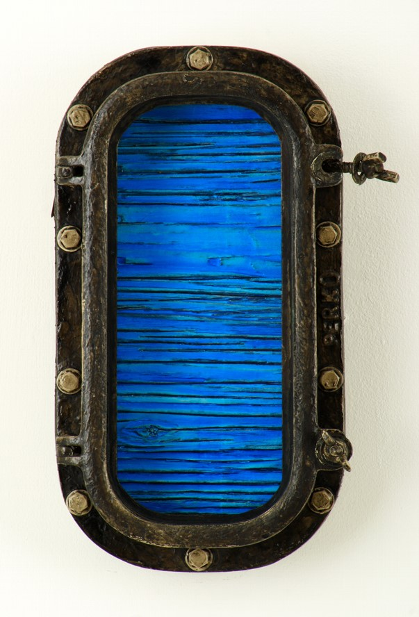 Timothy Williams, Ocean Electric XXXIV, 2017 Acrylic on recycled wood painting, mixed media on aluminum porthole frame with wood extension, steel bolts, and glass 8 x 15 inches $1300