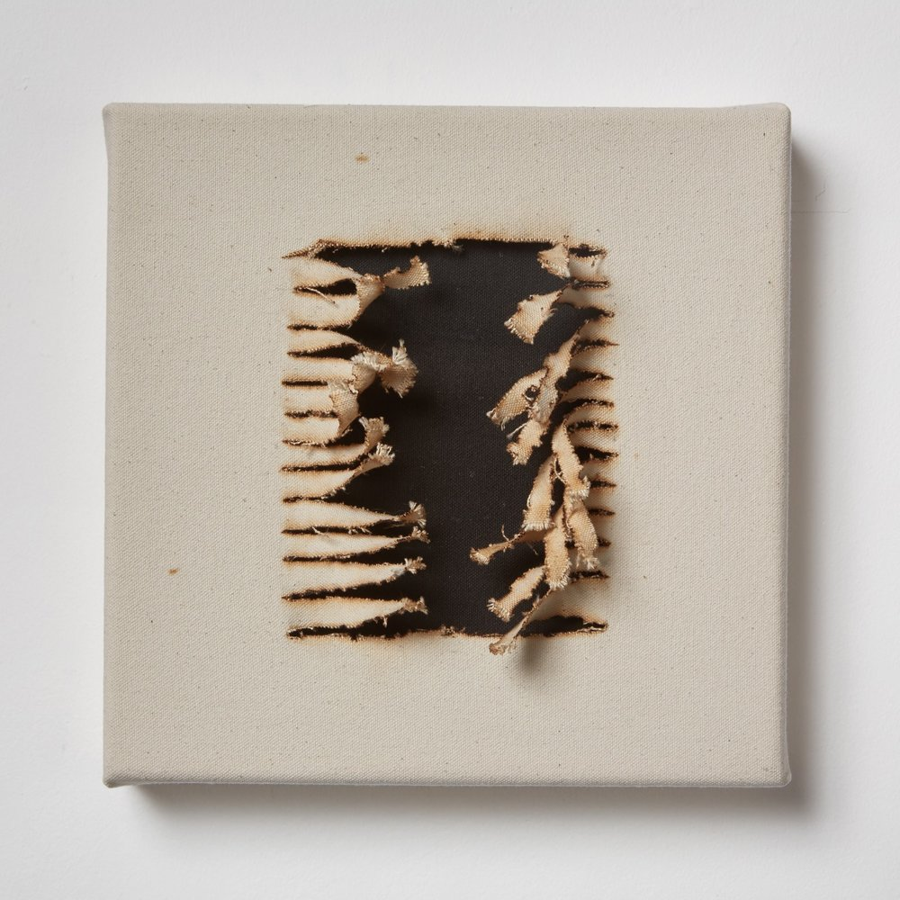 Joan Wulf, Untitled, 2016 Fire, pigment and canvas 10 x 10 inches $400