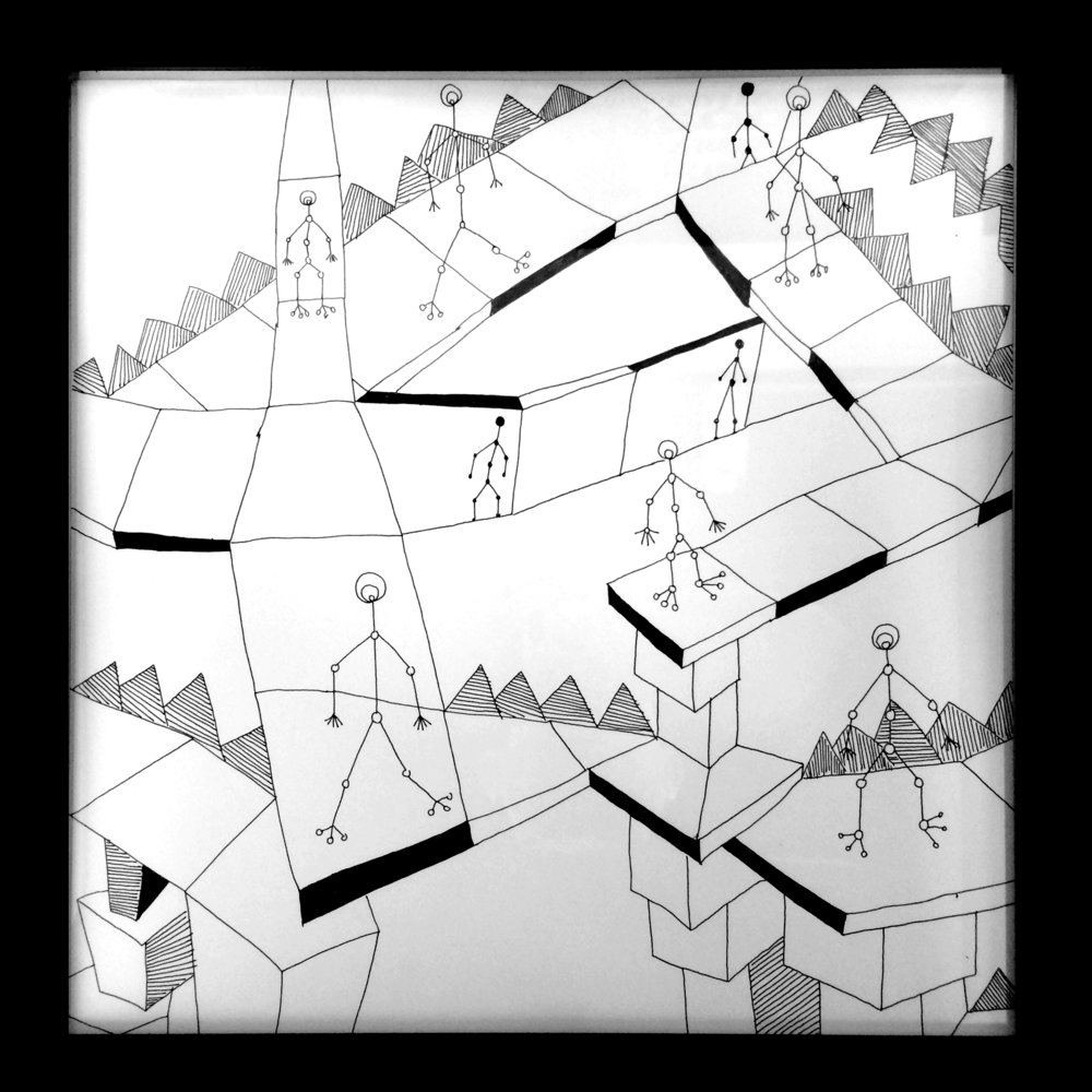 Jody Zellen,In Motion, 2016 Ink on paper 15 x 15 inches $500