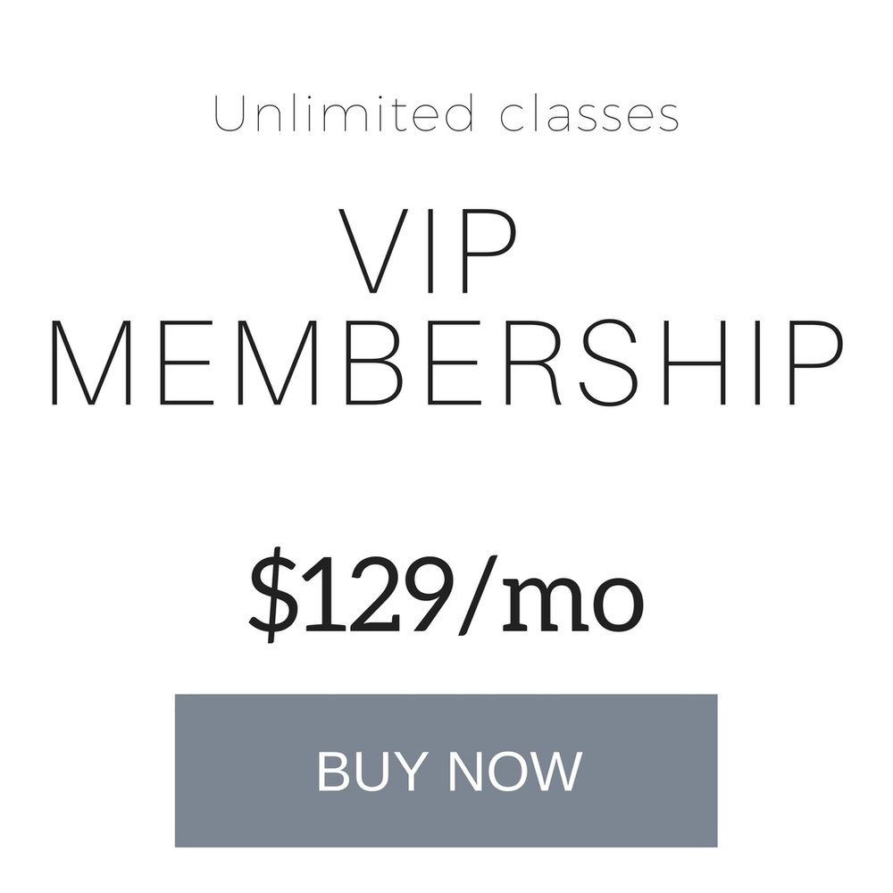 VIP Membership Perks:Unlimited classesSpecial rates for friends and familyDiscounts on workshops10% off all retailShorter cancellation window - 30 days notice to cancel. Min 3 month commitment