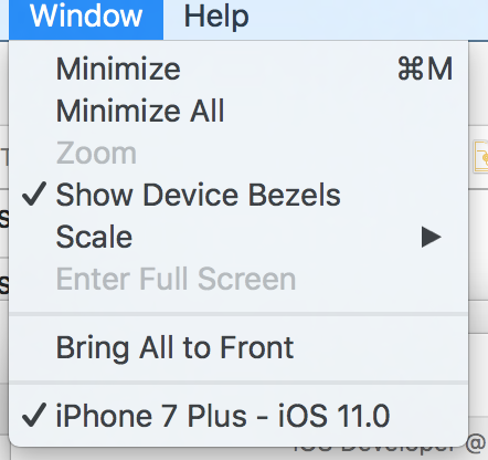 Bezel display toggle in Xcode 9