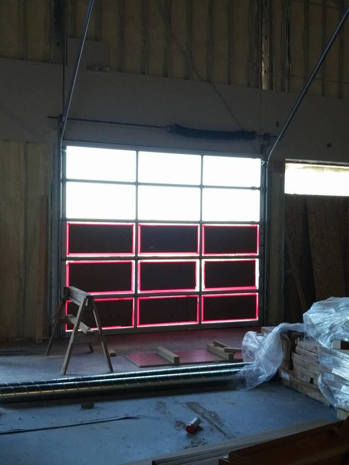 BLPA garage doors to back patio area