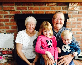 Grandma & Grandpa Potter with my children, two of their 13 great-grandchildren, 2015.