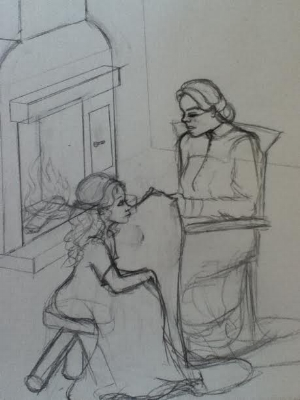 An early sketch of one illustration for the children's book, by Kiah Cheney