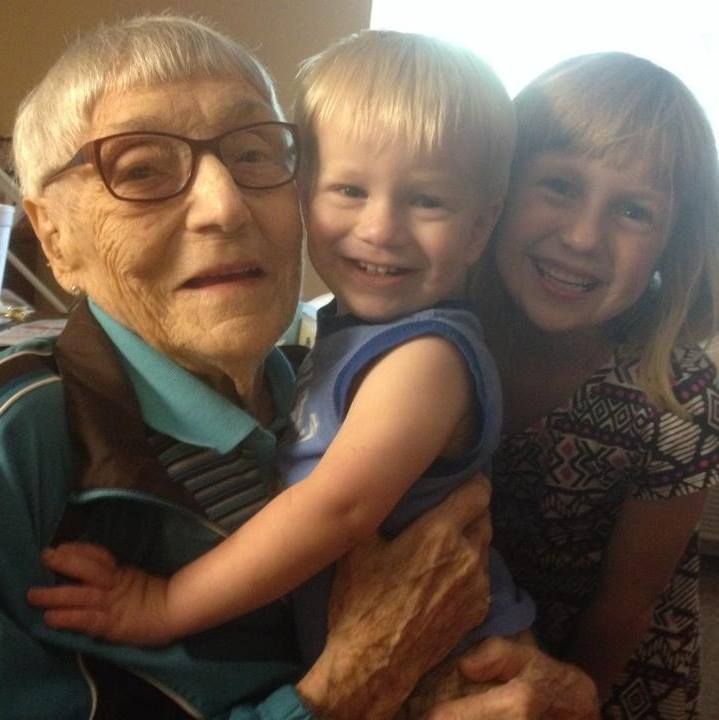 My children with their great-great-great Aunt Betts