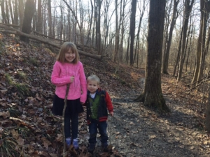 Here are our kids - Ellie and Micah - on our #FirstDayHike on January 1, 2017 at Ft. Benjamin Harrison State Park in Indianapolis.